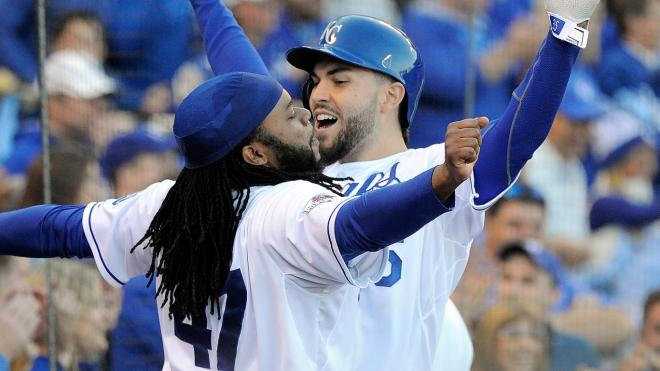 Johnny Cueto celebrating with Eric Hosmer during game 2 of the ALDS vs the Astros.