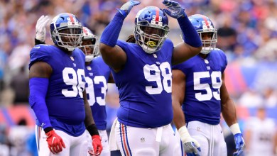 New York Giants defensive tackle Damon Harrison hypes up Giants faithful at MetLife Stadium during an October 2017 game against the New York Giants