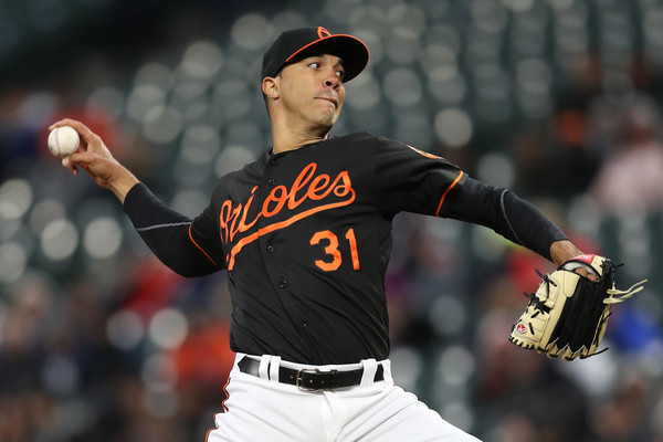 Baltimore Orioles pitcher Ubaldo Jimenez throws during a 2017 game against the New York Yankees
