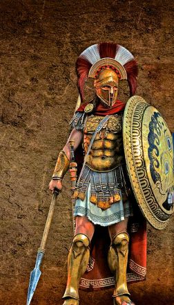 A Spartan Hoplite in full Panoply