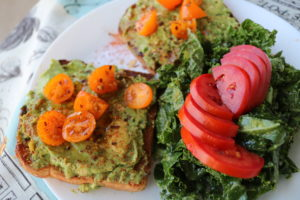 Avocado Toast w/ Pistachio Pesto and Grape Tomatoes