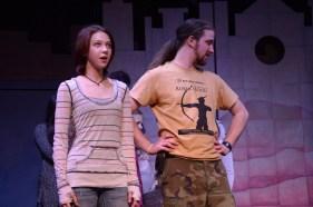 Theatre Bristol The Adventures of Robin Hood 2016 Rehearsal: Stephanie Marie as Lady Marian Fitzwalter and Joey Collard as Robin Hood