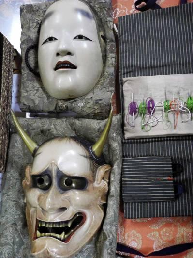 Masks on the sewing table @Oshima Nohgakudo. ©2013 Megan Nicely.