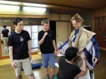 Oshima Teruhisa & Fritz Faust observing as Morit Gaifman dresses Megan Nicely @Oshima Nohgakudo. ©2013 Megan Nicely.