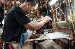 Artisan weaving cloth, Sasaki workshop