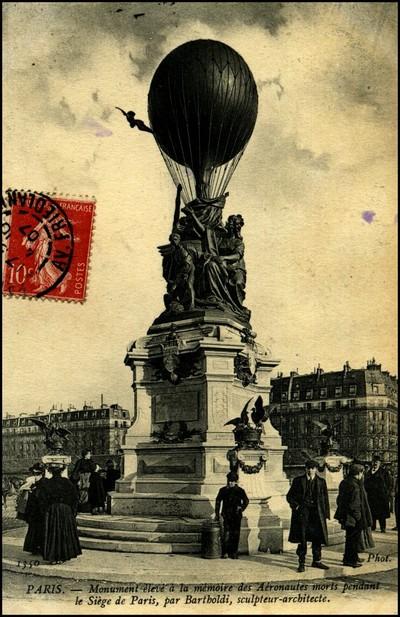 Monument élevé à Paris à la mémoire des aérostiers morts durant le siège de Paris, par Batholdi.