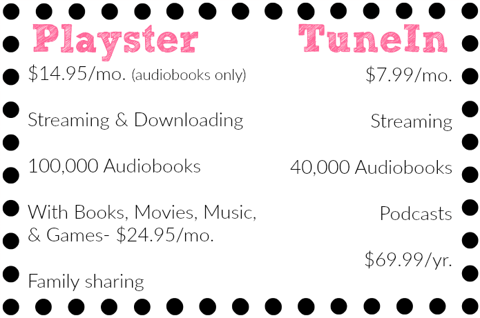 Playster vs  TuneIn Comparison Chart - The Audiobookworm