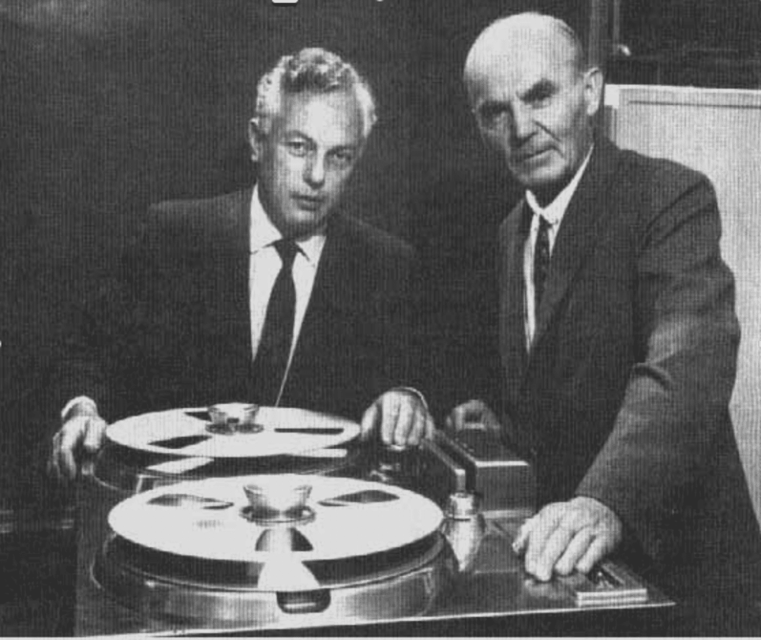 Alezander Poniatoff and Harold Lindsay with the first Ampex 200 recorder. (Ampex)