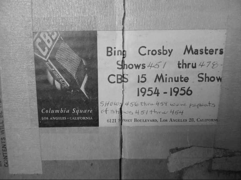 Shows the CBS address where the editing facility was located and the show numbers. These were the sort programs that Bing did with Buddy Cole and others after his weekly show ended. (BCE)