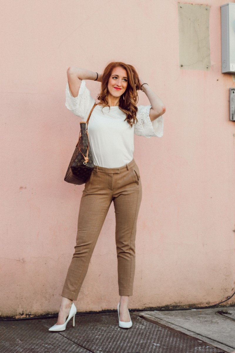 White and Camel Workwear Outfit for Spring