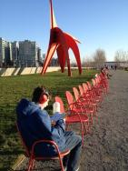 Reviewing map, Seattle Sculpture Garden