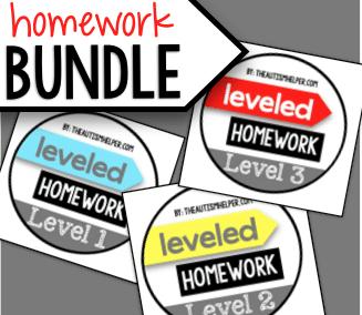 Leveled Homework {BUNDLE}