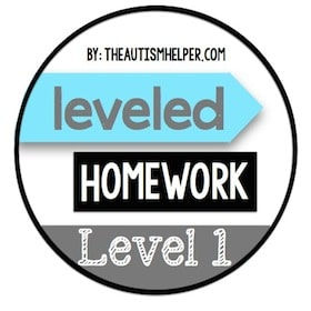 Leveled Homework {Level 1}