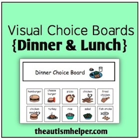 Visual Choice Boards {Lunch & Dinner}