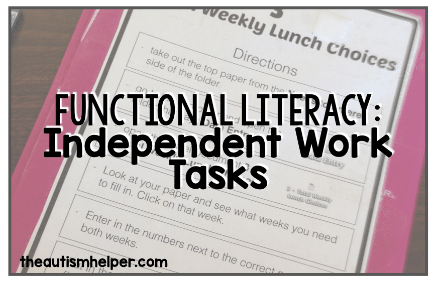 Functional Literacy: Independent Work Tasks