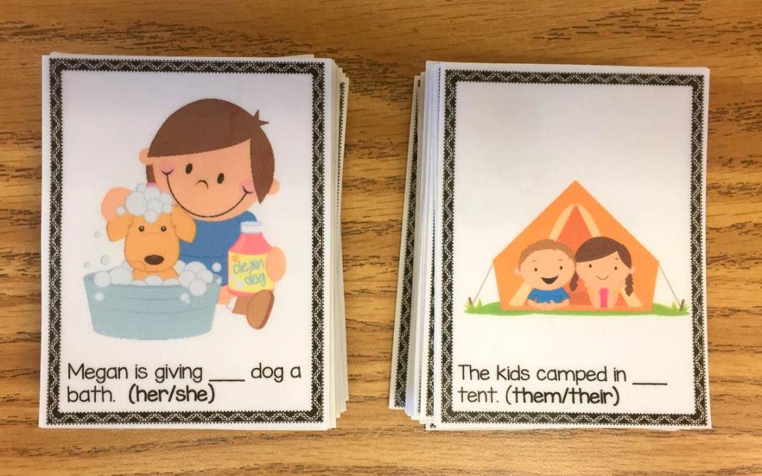 Possessive Pronoun Grammar Cards