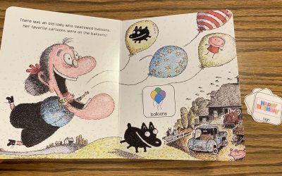 There Was an Old Lady Who Swallowed a Birthday Cake free book visuals and questions