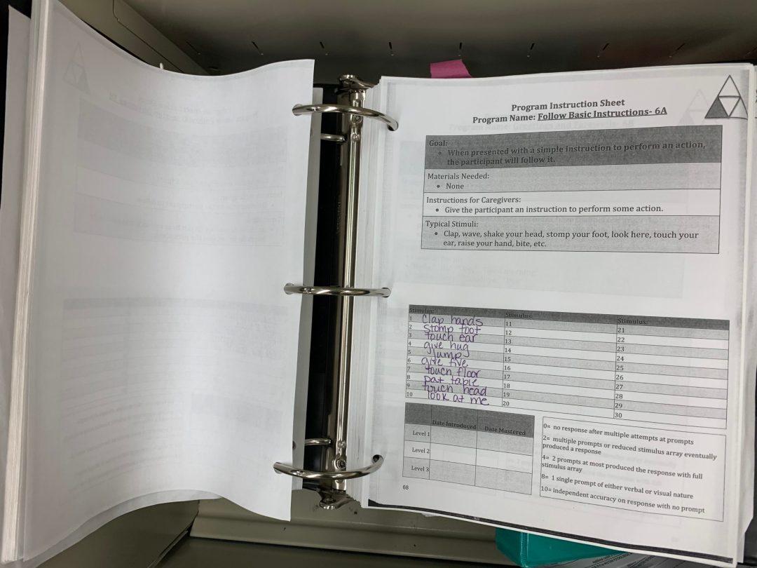 Organizing PEAK ABA Materials