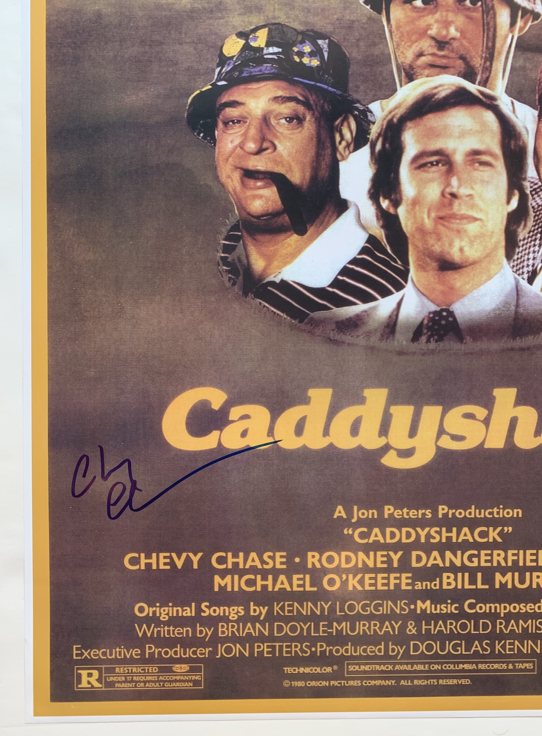 chevy chase signed 24x36 caddyshack movie poster