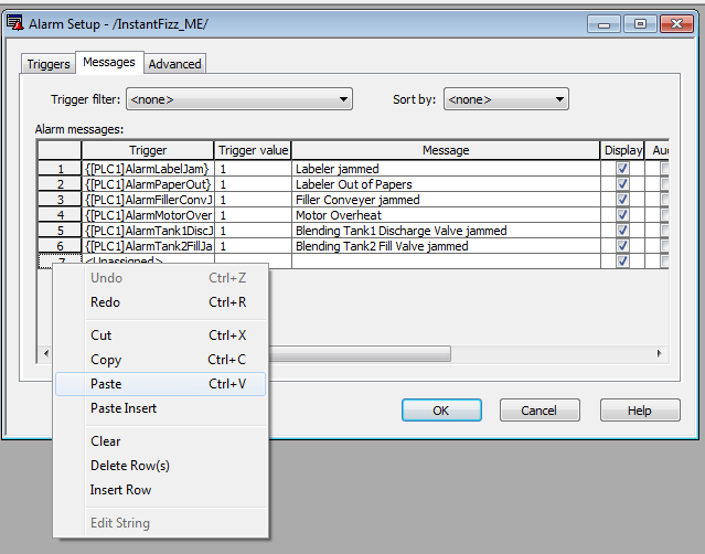 FTVME Edit Alarm Messages in MSExcel Step 6