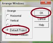RSLogix 5 and 500 arrange windows to default project