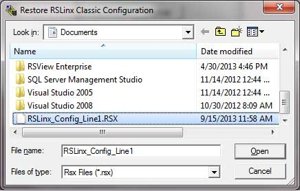 RSLinx Backup and Restore Utility Restore
