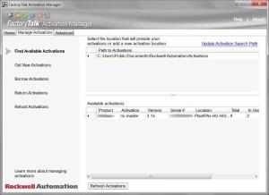 FactoryTalk Activation Manage Tab