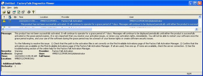 Rockwell Software Diagnostic Viewer 1