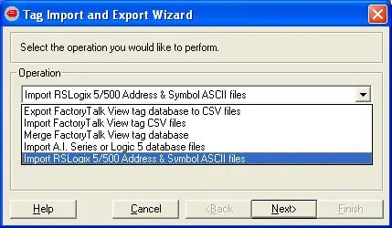 Tag Import and Export Wizard Step 2