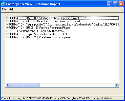 Tag Import and Export Wizard Step 9