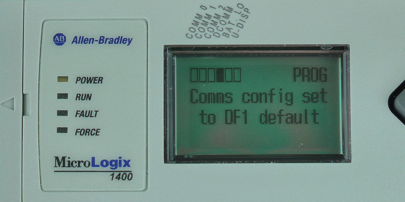 Using the MicroLogix 1400′s LCD To Enable Default Comms