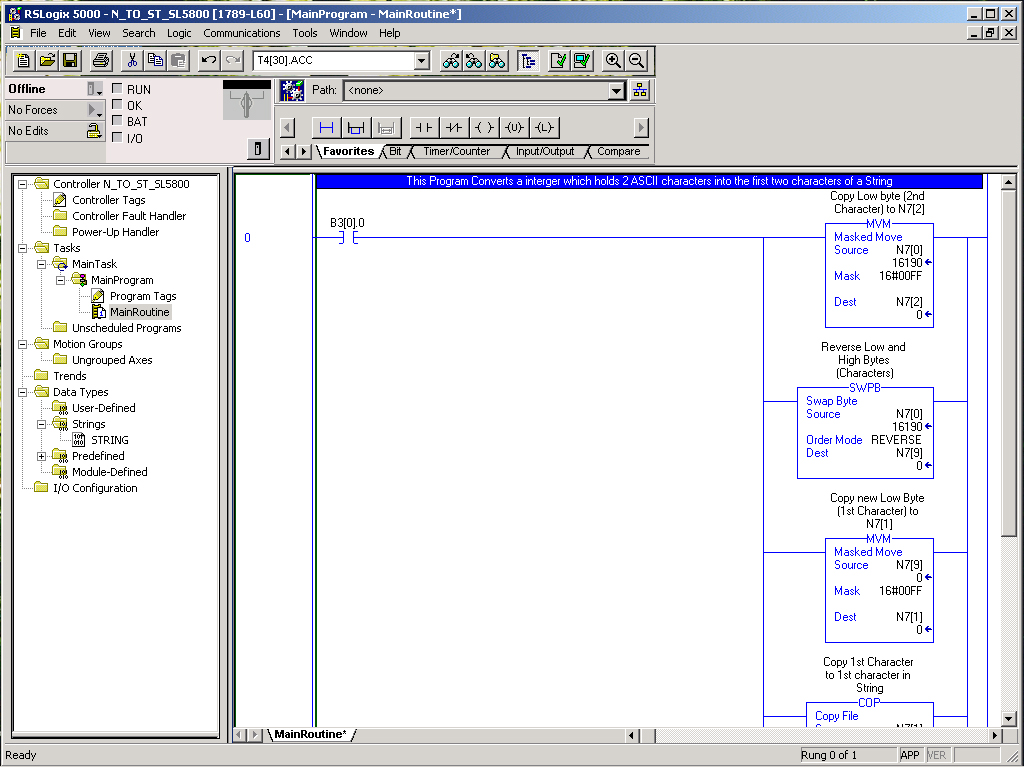 RSLogix 5000 Ladder Logic Example Integer Word to String