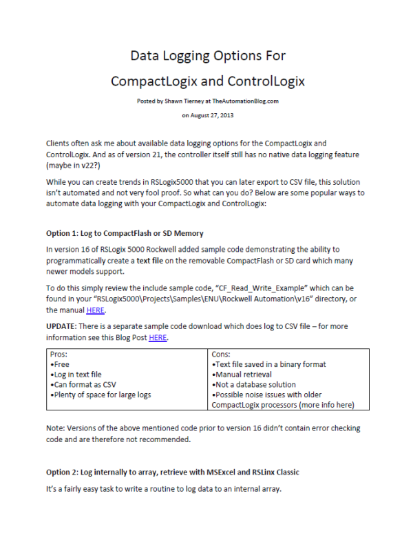 Article - Data Logging Options For CompactLogix and ControlLogix