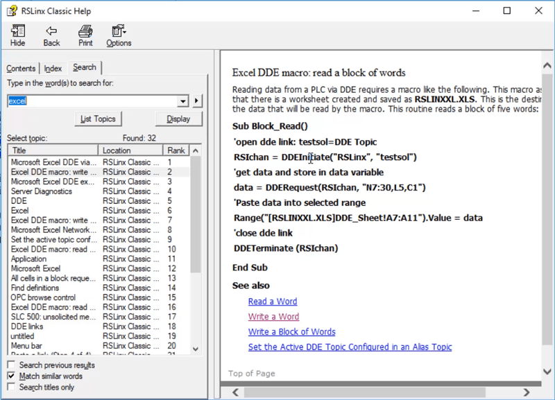 Get A-B Programmable Controller data into Microsoft Excel