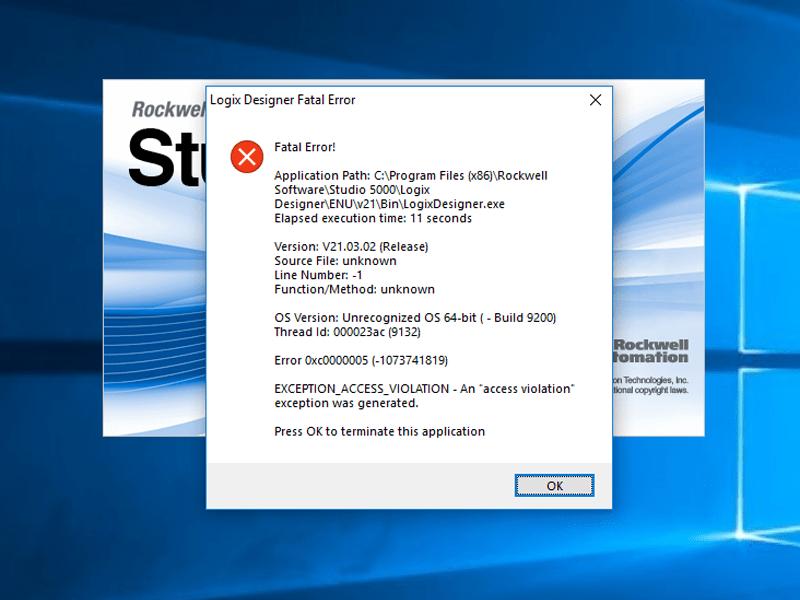 Fatal Application Error Encountered in Studio 5000 Logix Designer