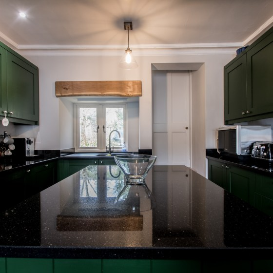 Duck green bespoke kitchen in the Yorkshire dales