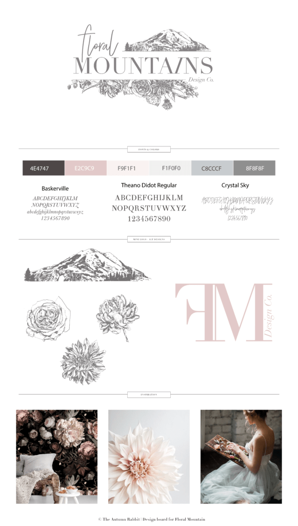 Floral Mountains brand board