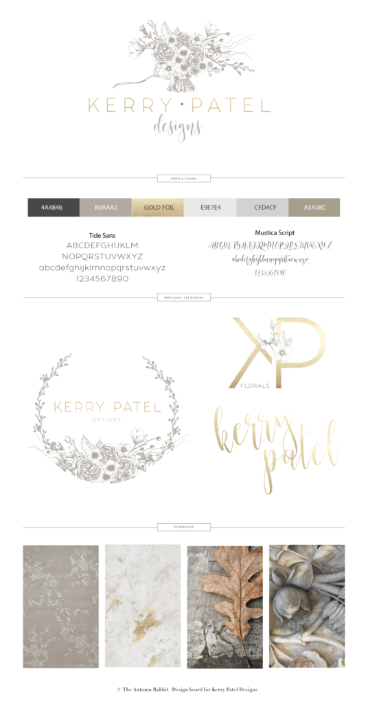 brand board for Kerry Patel Designs