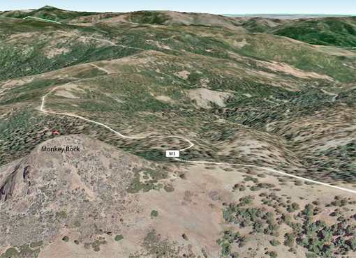 Google Earth view of Monkey Rock looking northeast into the Mendocino National Forest