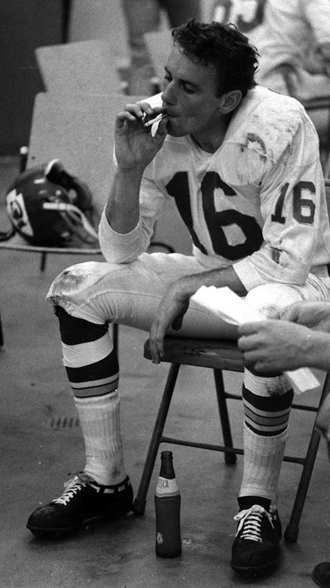 Chiefs quarterback Len Dawson in the locker room at halftime (photo by Bill Ray—Time & Life Pictures/Getty Images).