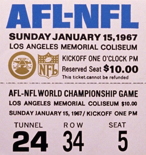 Bottom half of unused ticket for first Super Bowl (photo by: Tony Tomsic/Getty Images).
