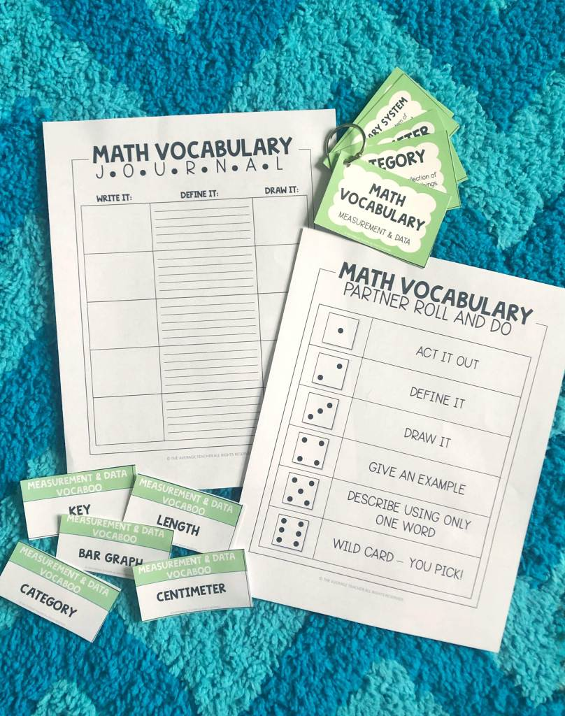 Math vocabulary activities and journal