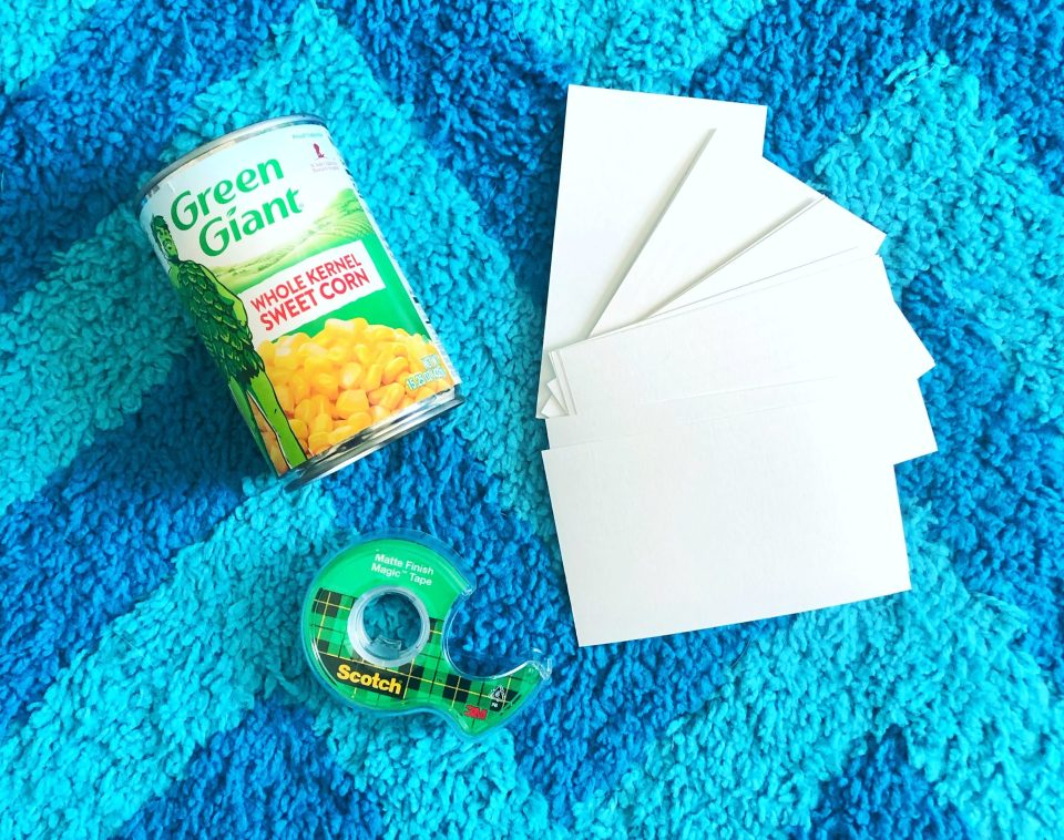 All you need is some index cards, tape, and a can of vegetables for this easy STEM challenge!