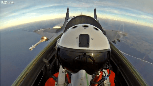 MiG-29 cockpit footage, dogfight with Typhoon and missile launch in