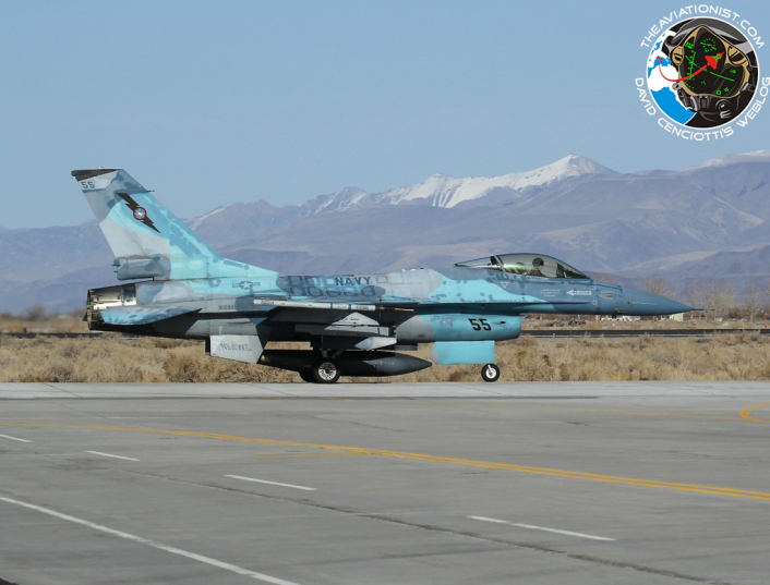 55. F-16A. NSAWC. NAS Fallon, with Mount Augusta in the back ground