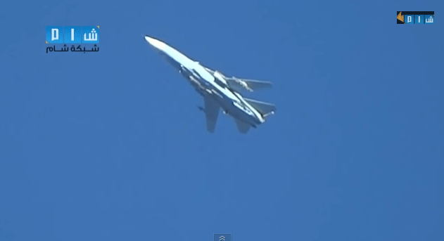 Extremely clear footage of Syrian Su-24 Fencer attack plane