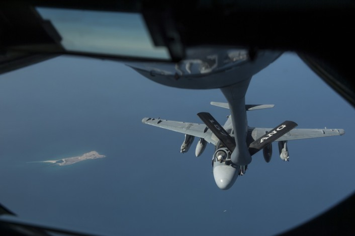 EA-6B refuel boom view