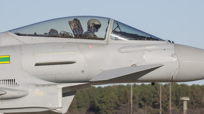 RAF EU Typhoon taxis to launch during the TriLateral Exercise at JBLE.