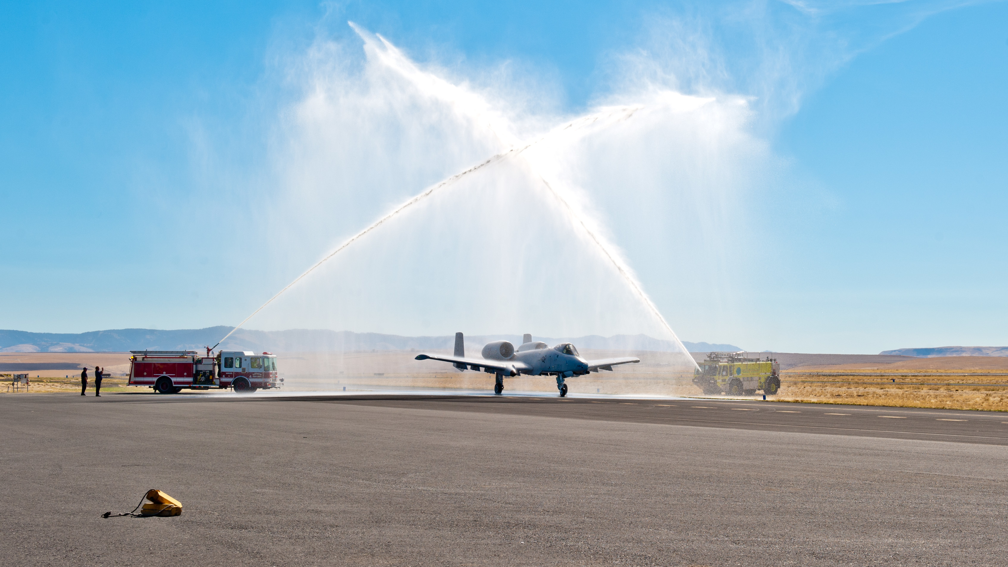 The Airmen of the Idaho Air National Guard's 124th Fighter Wing held a ceremony dedicating an A-10C Thunderbolt II aircraft to the city of Lewiston at the Lewiston-Nez Perce Regional Airport on Sept. 23, 2015. City officials from the community attended the ceremony along with interested members of the public. (Air National Guard photo by Tech. Sgt. John Winn)