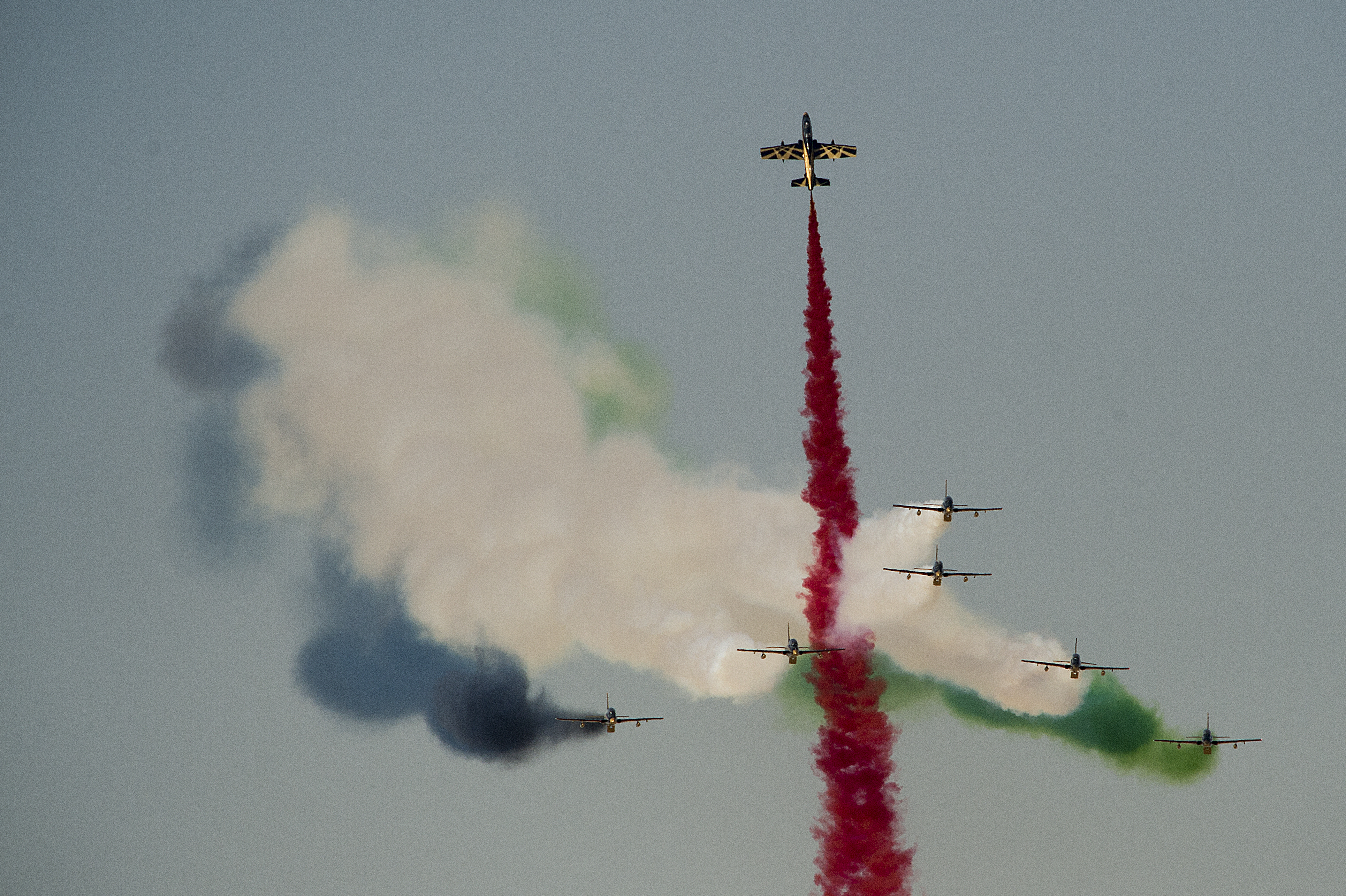 """""""Al Fursan"""" (The Knights), the United Arab Emirates Air Force aerobatic display team, performs during the 2015 Dubai Air Show, Nov. 9, 2015. The air show is a biennial event and is recognized as the premier aviation and air industry event in the Gulf and Middle East region and is one of the largest air shows in the world. (U.S. Air Force photo by Tech. Sgt. Nathan Lipscomb)"""